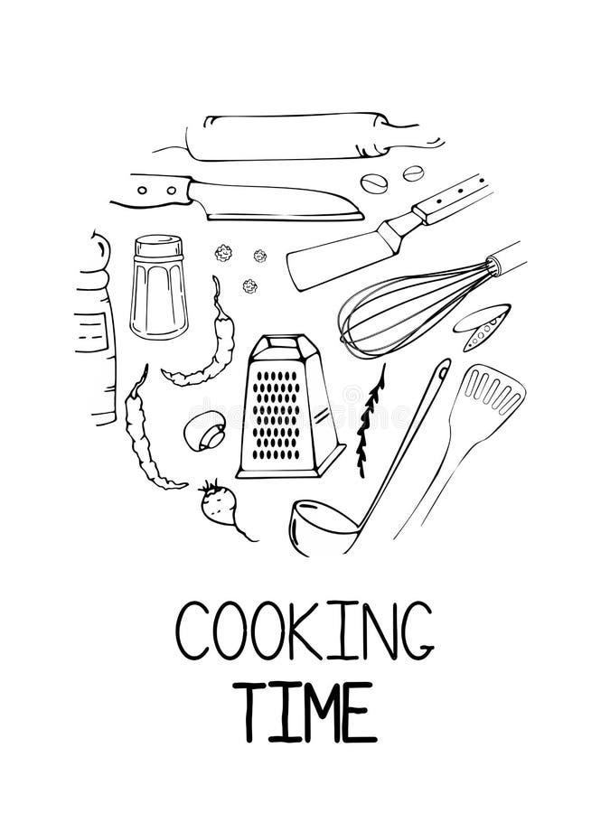 Utdragen illustration för hand med köksgeråd Faktisk vektorteckning av coocking hjälpmedel och citationstecknet Idérik konst för  stock illustrationer