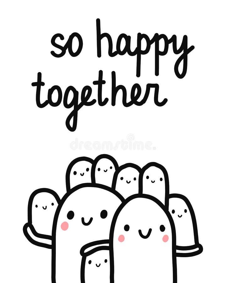 Utdragen illustration för så lycklig tillsammans hand med att märka den stora marshmallowfamiljen med sju ungar som tillsammans r stock illustrationer