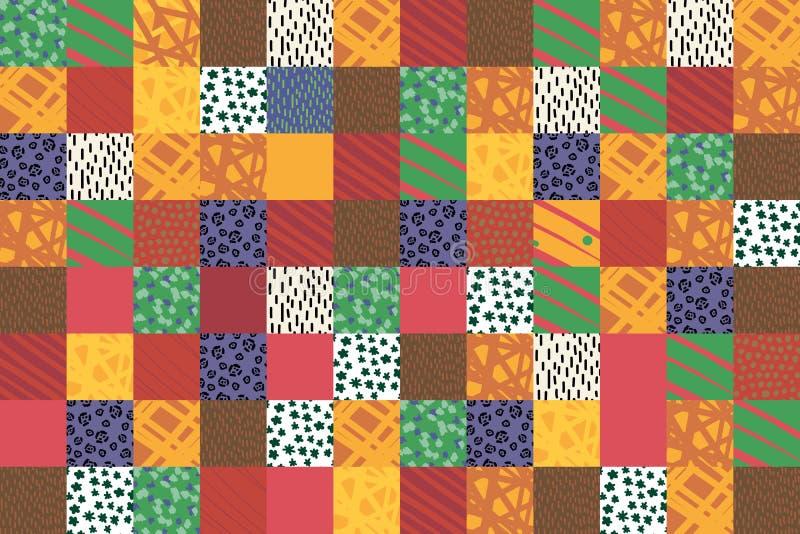 Utdragen illustration f?r lappcollagehand i brun beige orange guling f?r vibrerande f?rgbakgrund royaltyfri illustrationer
