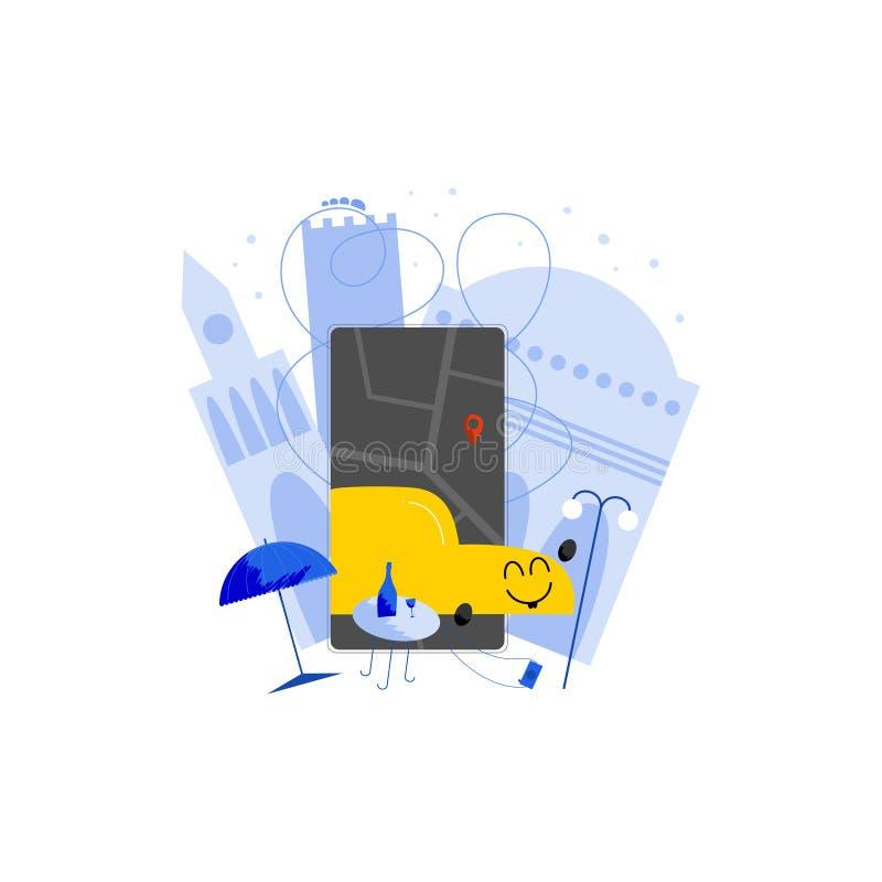 Utdragen illustration Ridesharing för mobil apphand vektor illustrationer