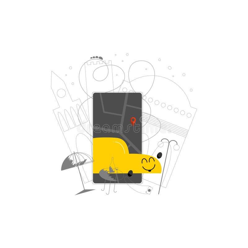 Utdragen illustration Ridesharing för mobil apphand royaltyfri illustrationer