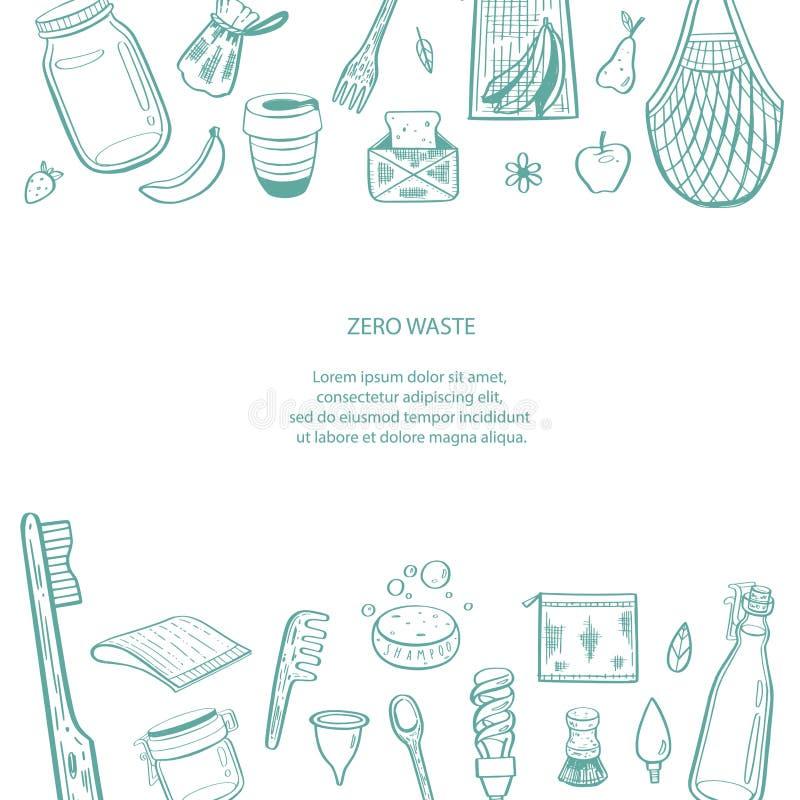 Utdragen infographic bakgrund f?r nollf?rlorad vektorhand Samling av eco och naturliga best?ndsdelar begreppet g?r green royaltyfri illustrationer