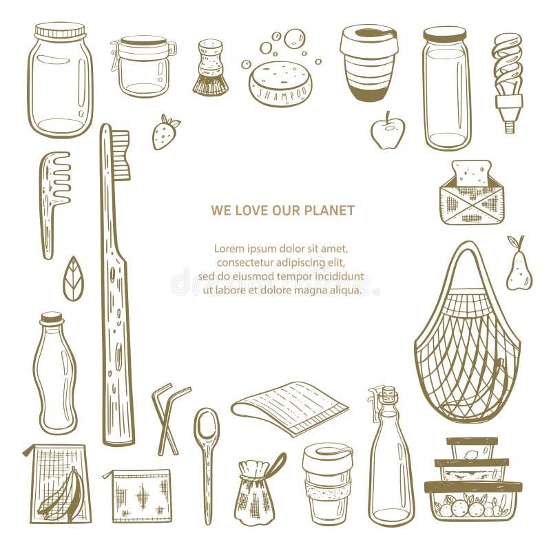 Utdragen infographic bakgrund f?r nollf?rlorad vektorhand Samling av eco och naturliga best?ndsdelar begreppet g?r green stock illustrationer