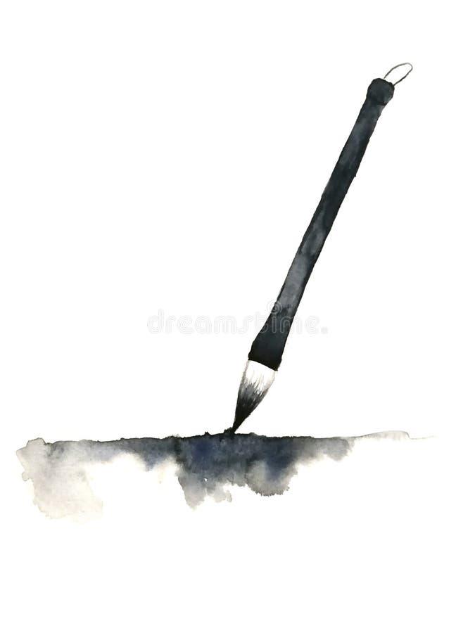 Utdragen kinesisk borste f?r vattenf?rghand och abstrakt f?rgpulversvart bakgrund isolerad white arkivbild