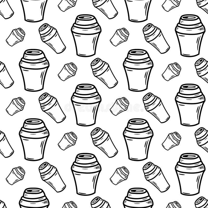 Utdragen kopp kaffe för sömlös modellhand Klottersvart skissar royaltyfri illustrationer