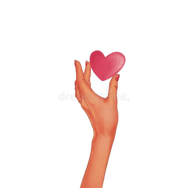 Utdragen kvinnas mörkhyade hand som rymmer en röd hjärta royaltyfri illustrationer