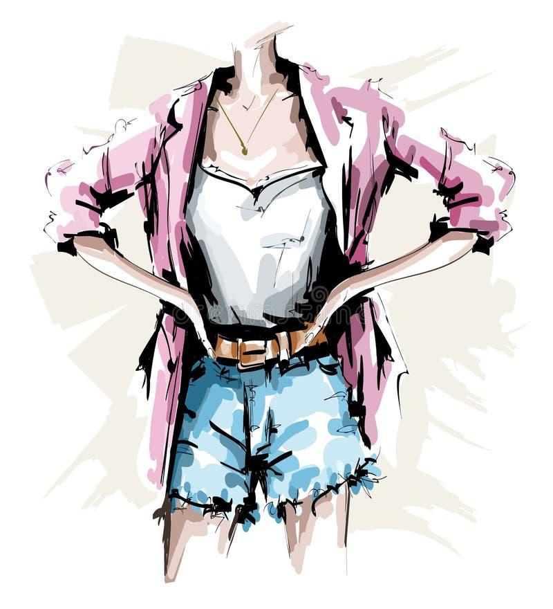 Utdragen kvinnlig kropp för hand Modedräkt Stilfull kvinnablick med kortslutningar, skjortan, omslaget och tillbehör skissa royaltyfri illustrationer