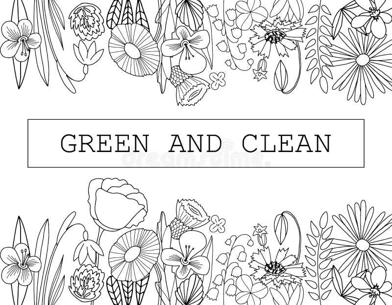Utdragen lös skisserad blommaaroun för hand kortgränsen vektor illustrationer