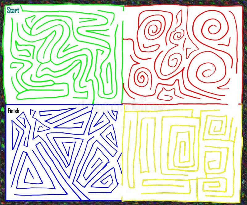 Utdragen labyrint för mångfärgad hand medelnivå, vektordiagram stock illustrationer
