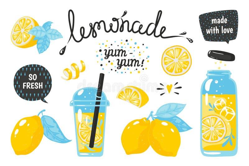 Utdragen lemonad för hand Citronjuicebubbladrink med etiketter och typografi, kall coctail för sommar Vektorn skissar citroner vektor illustrationer