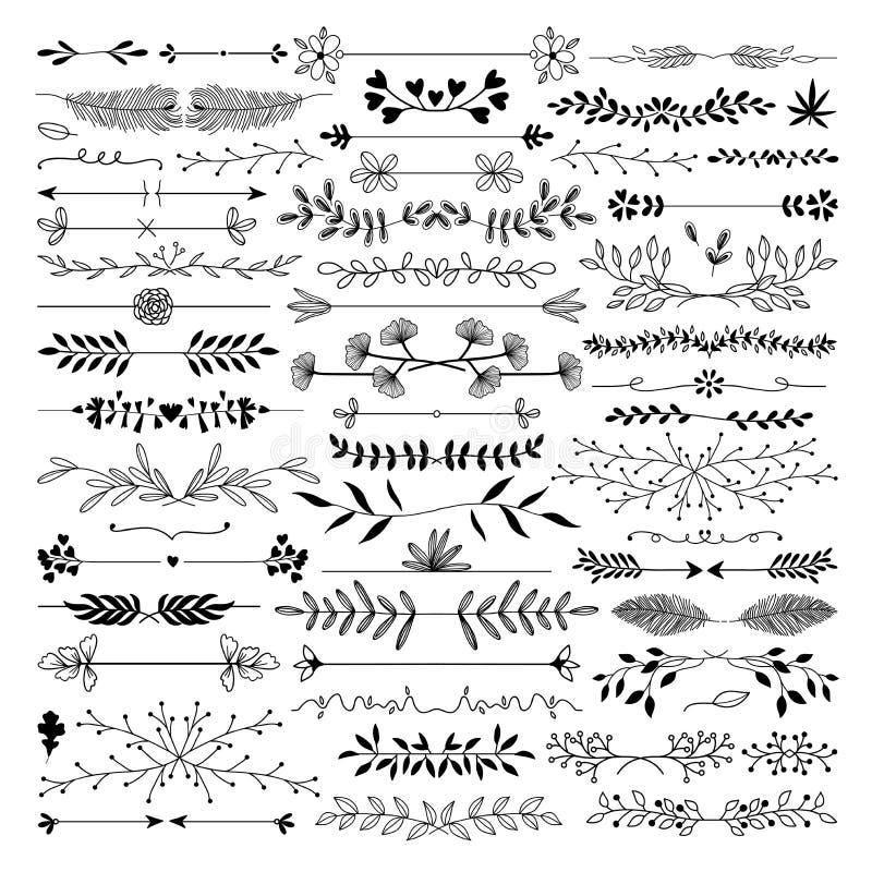 Utdragen linje för hand, gräns, uppsättning för beståndsdel för ramvektordesign royaltyfri illustrationer
