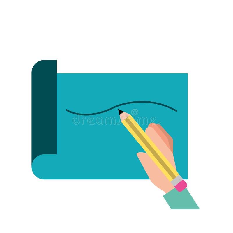 Utdragen linje för handinnehavblyertspenna på papper stock illustrationer