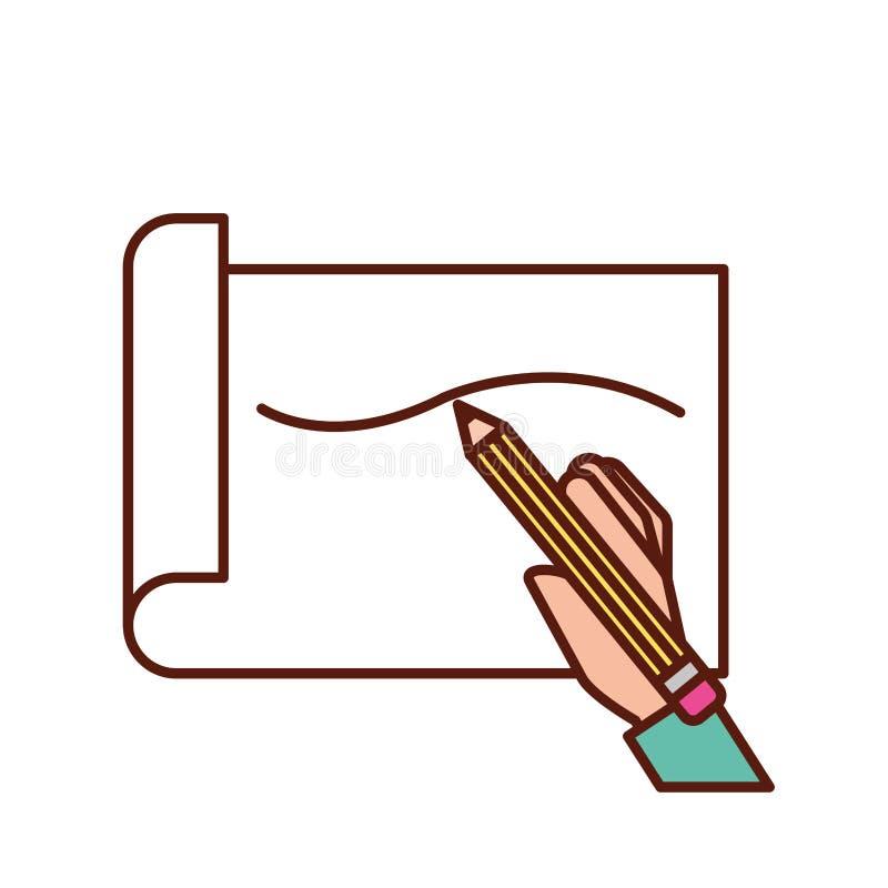 Utdragen linje för handinnehavblyertspenna på papper vektor illustrationer