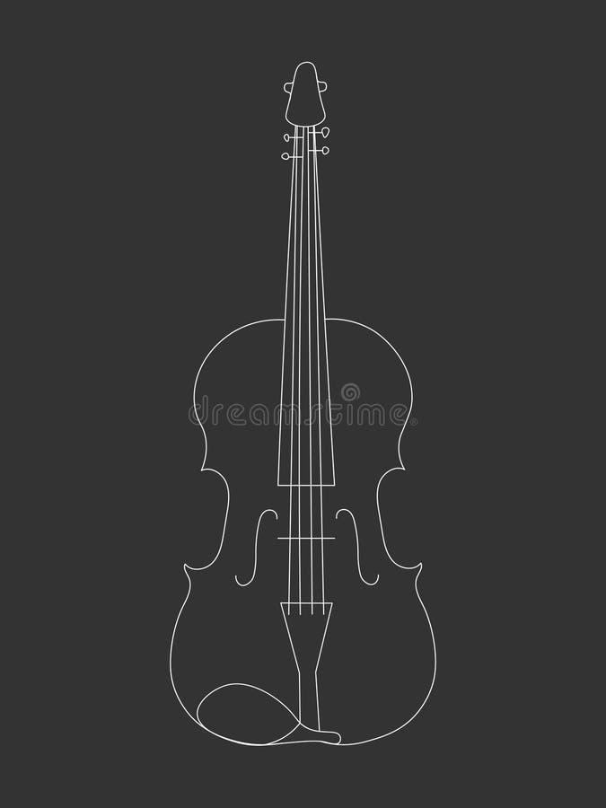 Utdragen linje konstöversiktsteckning för vit hand av en altfiol vektor illustrationer