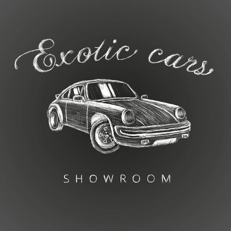 Utdragen logo för exotisk bilvisningslokalhand Logo för illustration för vektor för bilåterförsäljare Kritastil stock illustrationer