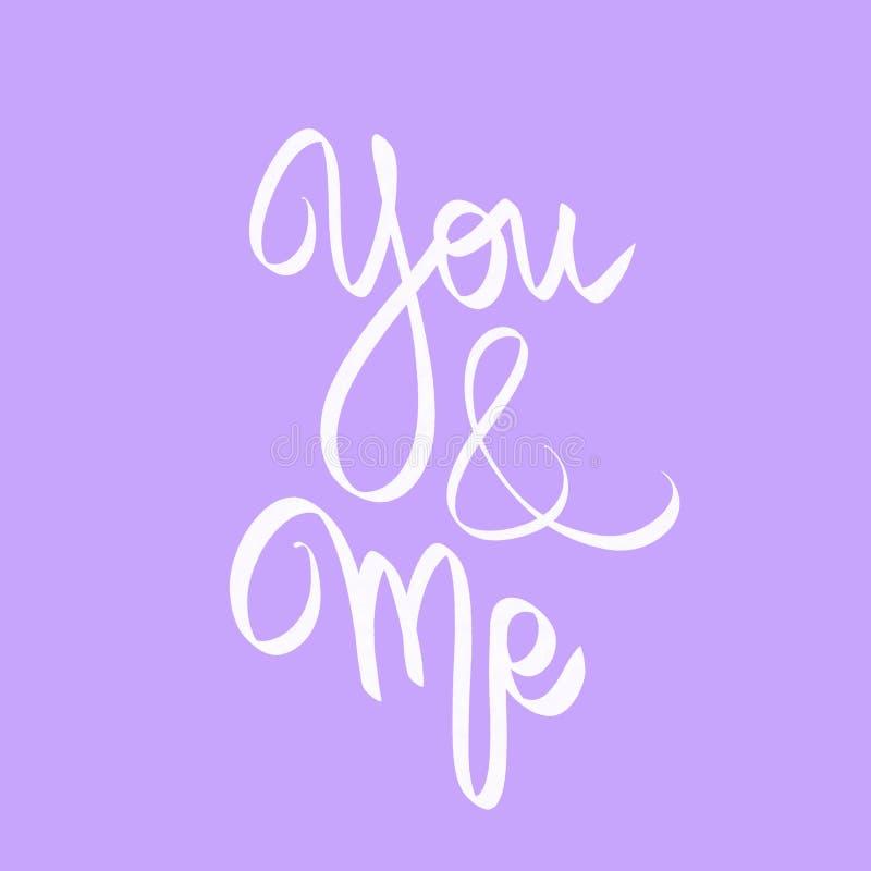 Utdragen märka illustration för hand i violett Vitt tecken för par dig och mig Förälskelsecitationstecken Gullig kalligrafivykort stock illustrationer