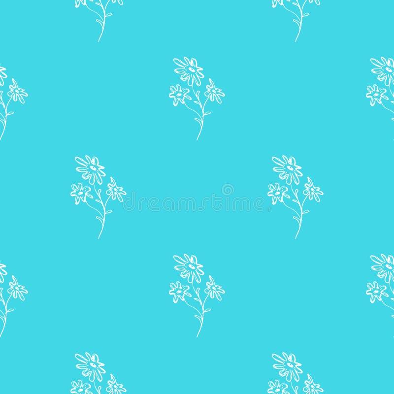 Utdragen modell för sömlös hand av abstrakta kamomillblommor som isoleras på blå bakgrund blom- illustrationvektor gulligt klotte vektor illustrationer