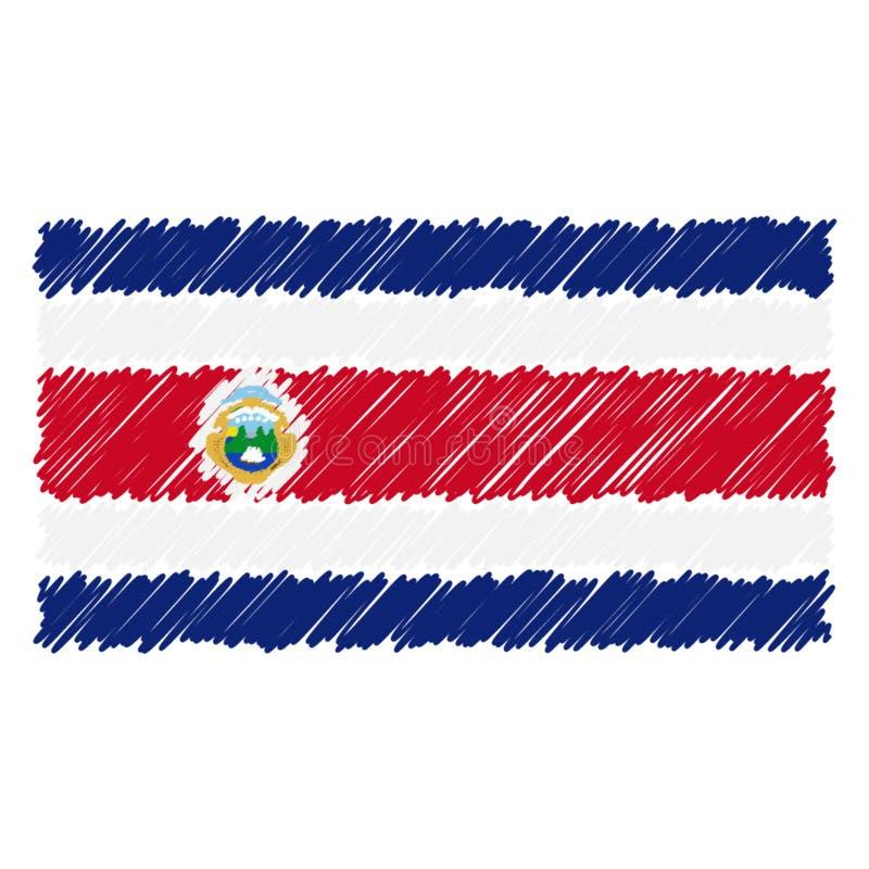 Utdragen nationsflagga för hand av Costa Rica Isolated On A vit bakgrund Vektorn skissar stilillustrationen vektor illustrationer