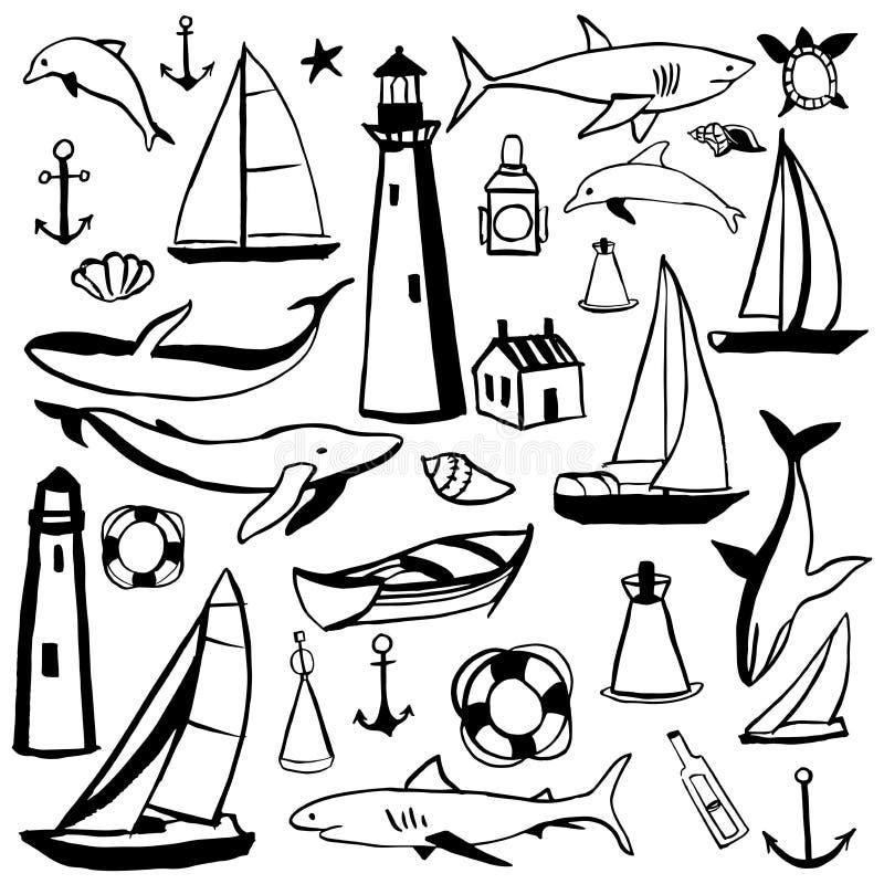 Utdragen nautisk symbolsuppsättning för hand vektor illustrationer