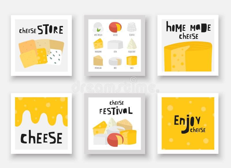 Utdragen ostsamling för hand inklusive feta, mozzarella, schweizare, roquefort stock illustrationer