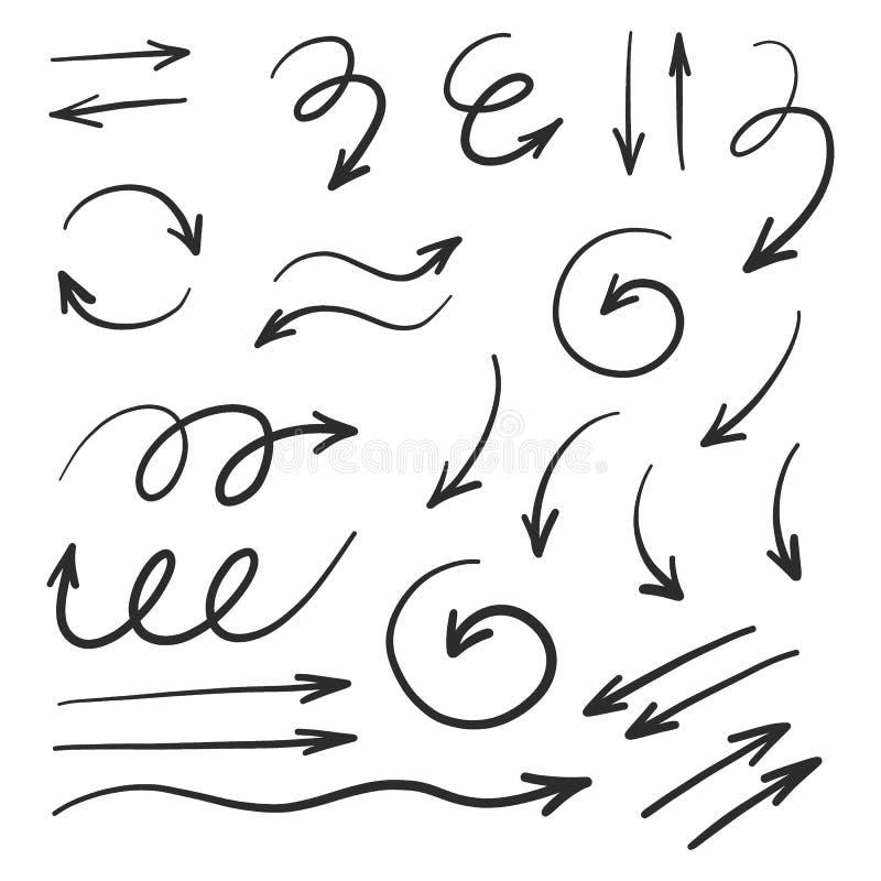 Utdragen piluppsättning för hand, svartvit vektorteckning royaltyfri bild