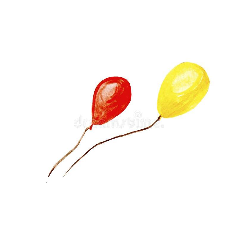 Utdragen röd vattenfärgillustration för hand och gula flygaballonger som isoleras på vit bakgrund vektor illustrationer