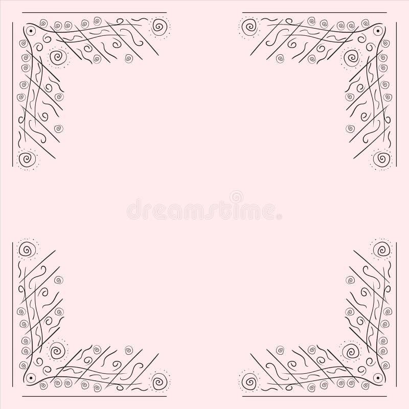 Utdragen ram för abstrakt hand på isolerad ljus bakgrund Vektorillustrationmall, designbeståndsdel stock illustrationer