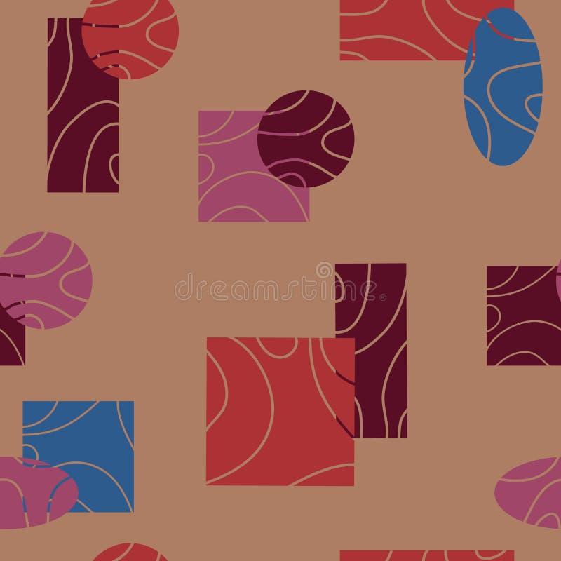 Utdragen sömlös abstrakt modell för hand med ovals, fyrkanter, rektanglar, cirklar, linjer på en ljus bakgrund yttersidamodell vektor illustrationer