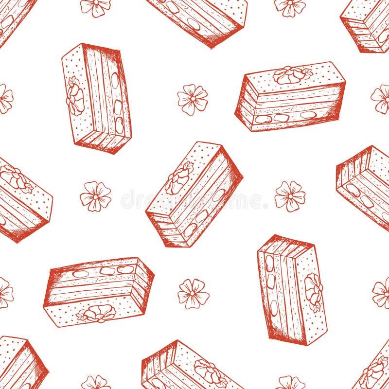 Utdragen s?ml?s modell f?r hand med mandelkakan vektor illustrationer