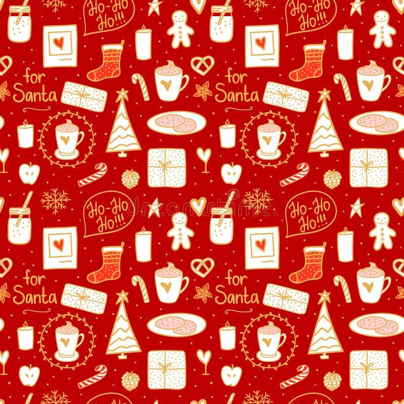 Utdragen sömlös modelltextur för hemtrevlig hand Mjölka kakao och kakor för jultomten För illustrationbegrepp för vektor faststäl royaltyfri illustrationer