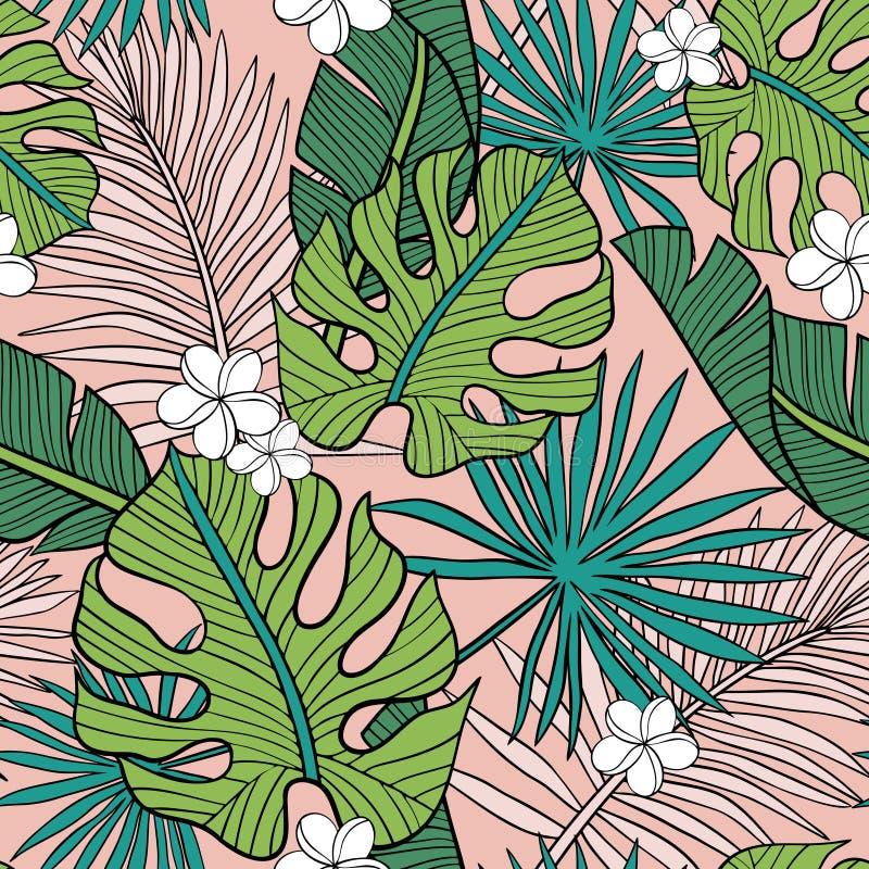 Utdragen sömlös vektormodell för hand med tropiska palmblad och exotiska blommor på rosa bakgrund royaltyfri illustrationer