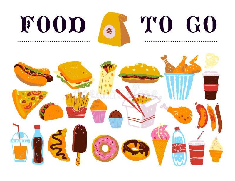 Utdragen samling för vektorhand av snabbmat som går - kaffe, varmkorven, smörgåsen, hamburgare, wokar, blir rädd, steker etc. Iso stock illustrationer