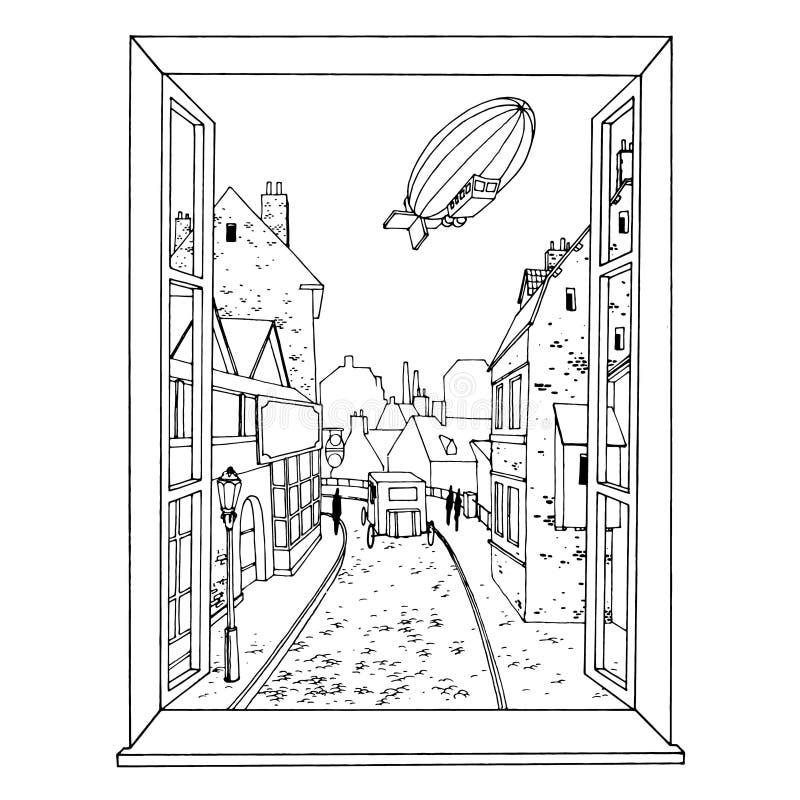 Utdragen sikt för hand av den gamla staden med en dirigible och en lagledare från fönstervektorillustrationen stock illustrationer