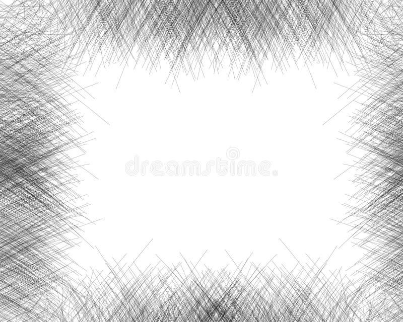 Utdragen skuggning med korsstreck för hand med en blyertspenna Ram Sneda gråa fina linjer, klottrar, klottrar, bestryker Vektorsa vektor illustrationer