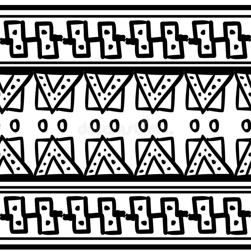 Utdragen stam- sömlös modell för hand i svartvitt med naturliga dra beståndsdelar Aztec illustration för mayastilvektor vektor illustrationer