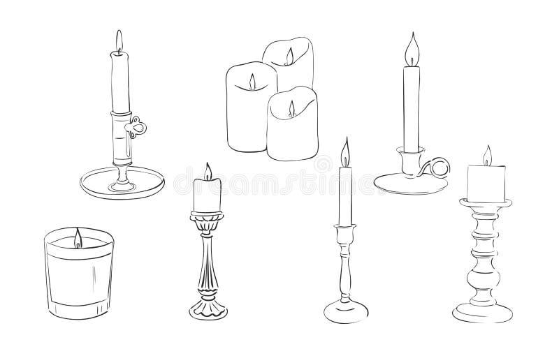 Utdragen stearinljussamling för hand vektor illustrationer