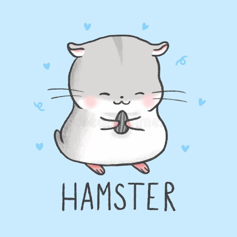 Utdragen stil för gullig hamstertecknad filmhand royaltyfri illustrationer