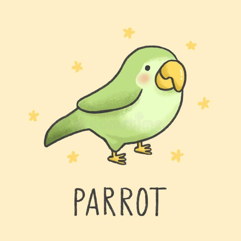 Utdragen stil för gullig papegojatecknad filmhand royaltyfri illustrationer