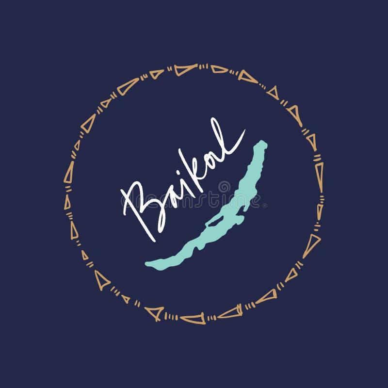 Utdragen stilfull klotteröversikt för hand av Lake Baikal stock illustrationer
