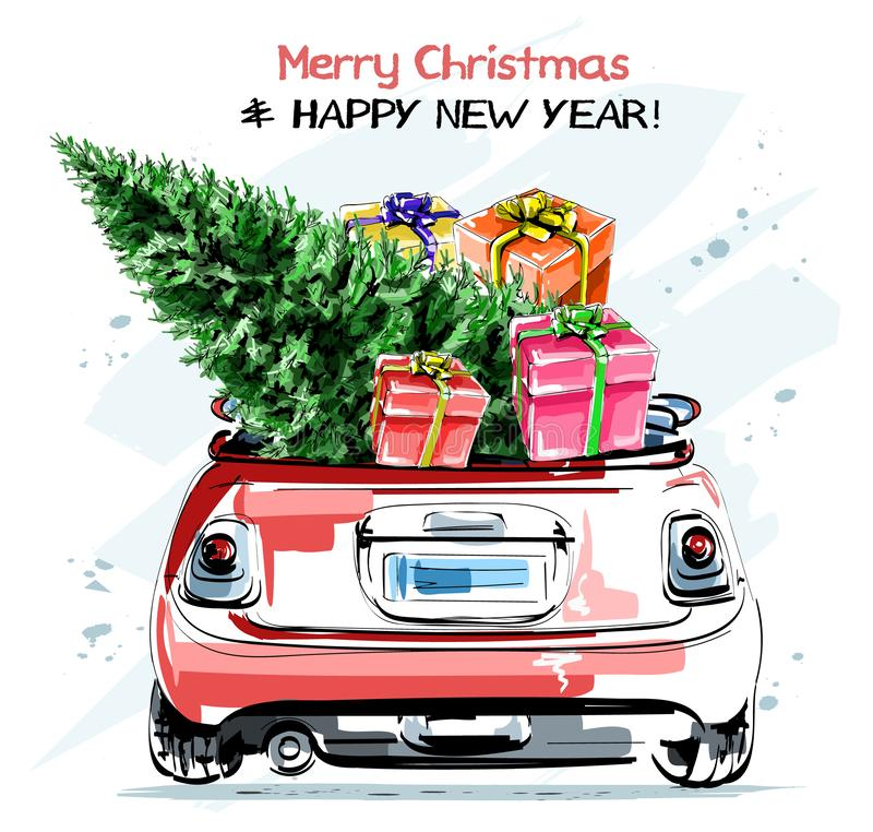 Utdragen stilfull röd bil för hand med gulliga julgåvaaskar och granträdet Härlig uppsättning för nytt år royaltyfri illustrationer