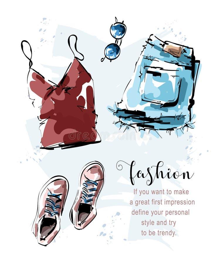 Utdragen stilfull uppsättning för hand med skjortan, kortslutningar, skor och solglasögon Modedr?kt clothing set skissa royaltyfri illustrationer