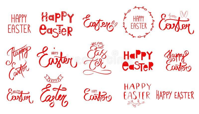 Utdragen stor uppsättning för hand av det lyckliga påskdagtecknet Den stora samlingen av den röda handen skissade Symbol för påsk stock illustrationer