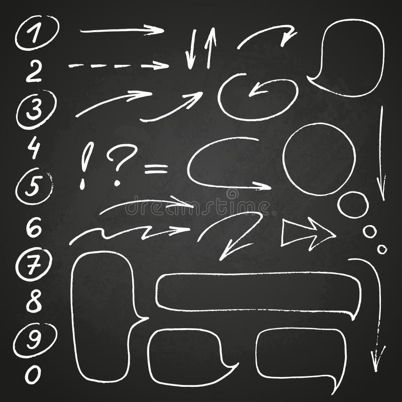 Utdragen svart marköruppsättning för hand av nummer och interpunktion, tillsammans med några klotter: pilar, cirklar och andra sy vektor illustrationer