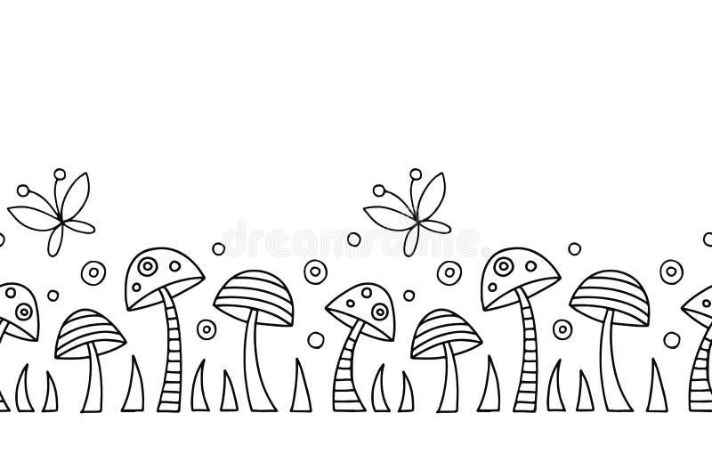 Utdragen svartvit modell för sömlös hand för vektor dekorativ med champinjoner, fjäril, prickar Grafisk illustration royaltyfri illustrationer