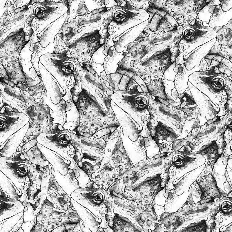 Utdragen svartvit sömlös modell för hand med grodor royaltyfri illustrationer