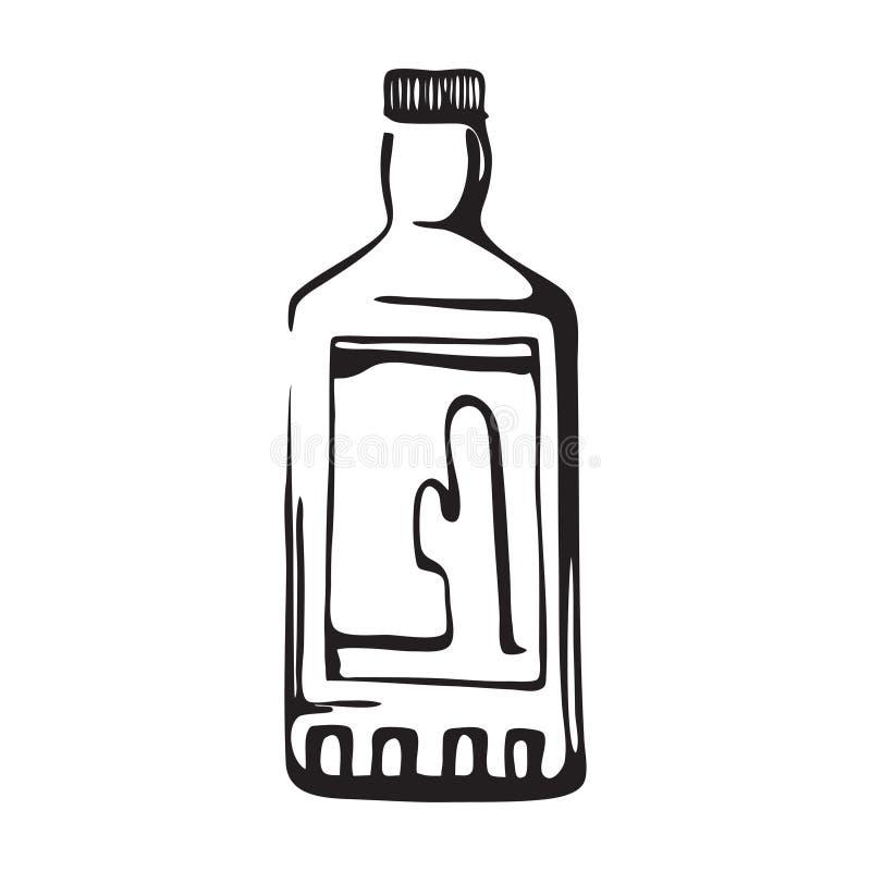 Utdragen tequilaflaska för hand Illustration för vektor för kaktusdrinkflaska Svart som isoleras på vit bakgrund royaltyfri illustrationer