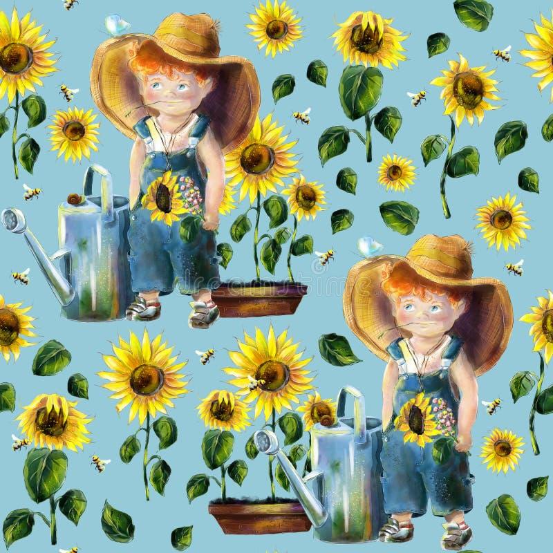 Utdragen trädgårdsmästare för vattenfärghand i sömlös modell för solrosträdgård stock illustrationer