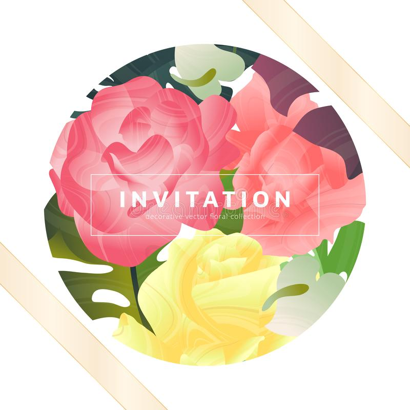 Utdragen tropisk växt för hand, rosa ros, splittringbladPhilodendron, Anthurium inom cirkelram med det guld- bandet, inbjudankort stock illustrationer