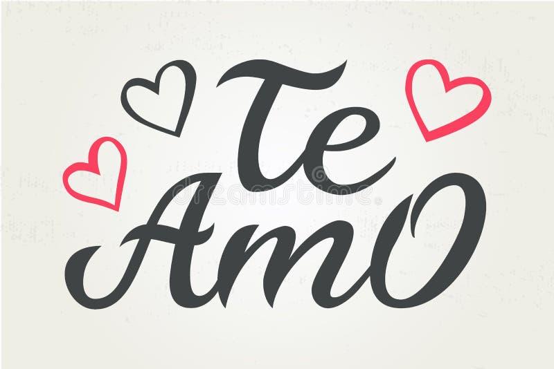 Utdragen typografibokstäver Te amo för hand Te amo - jag älskar dig i spansk romantisk dekorativ bokstäver Vektorvalentin stock illustrationer