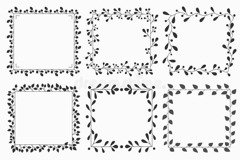 Utdragen uppsättning för hand av blom- vektorkrans och ramar royaltyfri bild